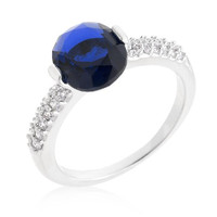 Blue Oval Cubic Zirconia Engagement Ring, size : 05