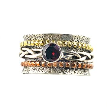 Spinner Ring - Two Tone Garnet Woven Ring