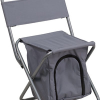 Kids Folding Camping Chair with Insulated Storage in Gray