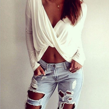 White V-Neck Cross Twisted Crop Top