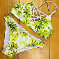 Women's Bathing Suit Adjustable Spaghetti Strap Leaves Print Criss Cross Bikini Set