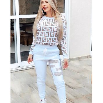 FENDI New Fashion Women Casual Long Sleeve Top Pants Trousers Set Two-Piece Sportswear White