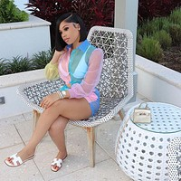 Women Multi-Color See Through Mesh Two Piece Long Sleeve Button Up Short Set