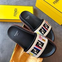 FENDI FF Colored Embroidery Canvas Sandal