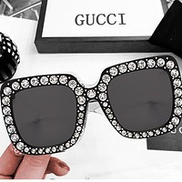 Gucci Fashion Women Men Diamond More Big Frame Good Glass Lens Sunglass  glass Full black
