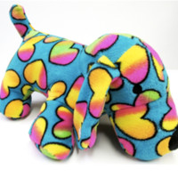 """Turquoise Rainbow Heart Fuzzie Dog.  Comfy Pillow.  Oversized 17"""" Long and 10"""" High."""
