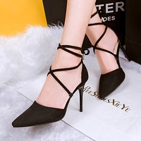 Sexy Black Pink Grey Strappy Stiletto High Heels Red Bottom High Heels Women's Shoes With Heels Wedding Party Women Pumps