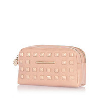 Pink square studded double zip makeup bag - make up bags / luggage - bags / purses - women