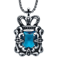 Stainless Steel Cross Topped Crown W. Blue Cubic Zirconia Pendant Necklace