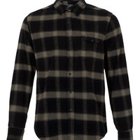 Grey Large Scale Check Flannel Long Sleeve Shirt