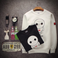 Fall and winter new self - cultivation long - sleeved sweater men 's lovely Baymax couple coat men' s class clothes