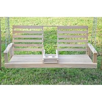 Beecham Swing Co. 5ft. Drink Holder Console Oak Porch Swing