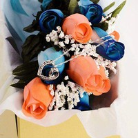 Scented Blue And Coral Mixed Wax Roses Bouquet