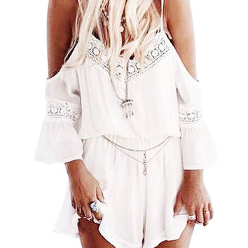 Chiffon Cold Shoulder Romper With Lace Inserts