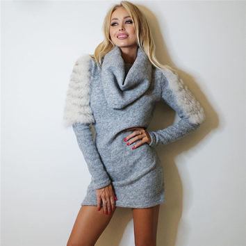 Women's Fashion Slim Warm Fur One Piece Dress [10320591814]