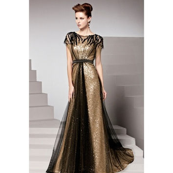 Woman Champagne Floor-Length A Line Scoop Neck Cap Sleeve Sequined Evening Dress