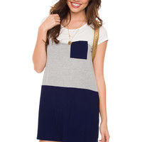 Pia Stripe Dress - Navy