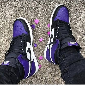 Air Jordan 1 Fashion Women Men Casual High Help Sport Shoes Sneakers(Black&Purple)
