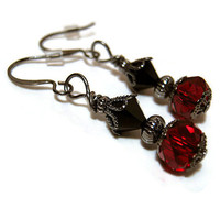 Gunmetal Red and Black Drop Dangle Earrings Made with Faceted Glass and Swarovski Bicones Goth Vintage Style Womens Jewelry