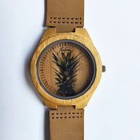 Wooden Watch, Pineapple Watch, Wood Watches, Mens Watch, Personalized Watch, Groomsmen Gift, Mens Jewelry, Unique, Leather Watch, Freeforme