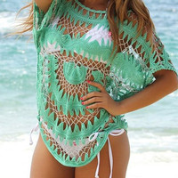 Green Crochet Beach Cover Up