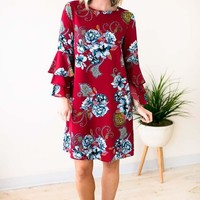 The Good Stuff Floral Ruffle Sleeve Dress