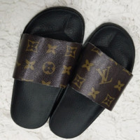 Louis Vuitton New Fashion Women's Print LV thick bottom Slippers Sandals Coffee