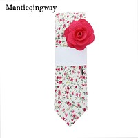 Cotton Floral Neck Tie For Mens Business Bowtie Gravatas Fashion Casual Printed Ties With Free Brooch