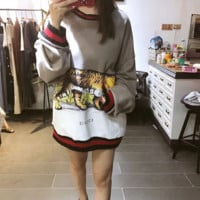 """Gucci"" Women Casual Fashion Multicolor Tiger Print Loose Long Sleeve Sweater Tops"