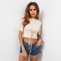 Fashion Solid Color Crisscross Bandage Short Sleeve Women's Crop Tops T-shirt