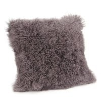 Lamb Fur Pillow Large Grey Wool