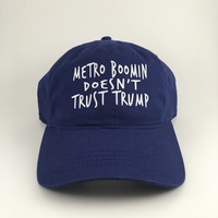 Metro Boomin doesnt trust trump -navy blue strapback hat dad cap