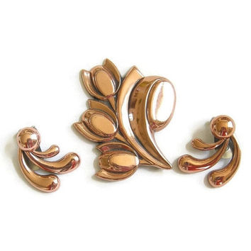 Vintage Copper Flower and Leaf Brooch or Pin and clip Earrings Demi Parure Set signed RENOIR