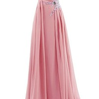 Mic Dresses Women's Long Evening Gown with Beads Prom Dress