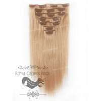 14 Inch 7 Piece Straight Human Hair Weft Clip-In Extensions in #16