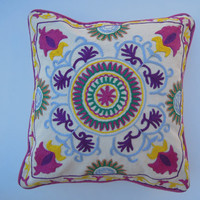 "Suzani Cushion Cover, 16x16"" Indian Suzani Pillow, Embroidered Handmade pillow, Throw Decorative Pillow cover, Suzani Cushion Cover"