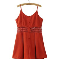 Casual Spaghetti Strap Patchwork Hollow Out Plain Romper