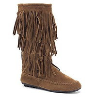 Women's BDW-16 3 Layer Fringe Tall Zipped Moccasin Boots