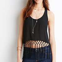 Lattice Fringe Racerback Tank