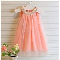 Girl Dresses Kids Chiffon Dresses For Girls Cute Pearl Collar Mini Tulle Clothing Children Baby Kids Dress