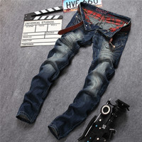 Jeans Korean Strong Character Mosaic With Pocket Straight Jeans [6541849859]