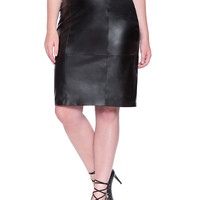 Pieced Faux Leather Pencil