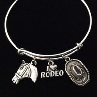 I Love Rodeo Cowboy Hat and Horse Head Charm on a Silver Expandable Charm Bracelet Bangle