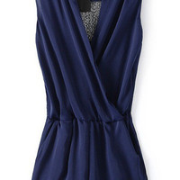 Dark Blue Romper With Lace Back Panel