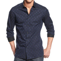 Alfani Mens Pattern Tab Collar Button-Down Shirt