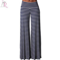 Navy Striped Wide Leggings Palazzos Mid Waist Loose Casual Long Pants Streetwear 2016 Spring Women Clothing