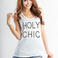 Holy Chic T Shirt Tank Tops for Women Girls Sleeveless Shirt Top Teenage Girl Gifts Friends Cool Fashion Swag Dope Nope Sassy Cute Trending
