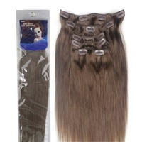 Emosa Silky Straight 100% Human Hair Clip in Extensions 7 Piece Set Color 8 Medium Brown (15'')