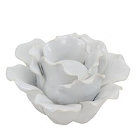"Ceramic 6"" Rose Tealight Holder, White"