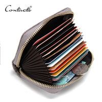 CONTACT'S 2016 New Genuine Leather Women Card Holder Wallets High Quality Female Credit Card Holder Trunk Card holder Coin Purse